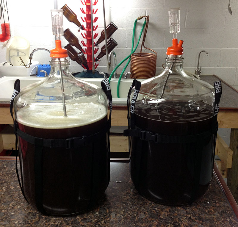 These batches of sour red ale undergo a sour worting process before being pitched with yeast.