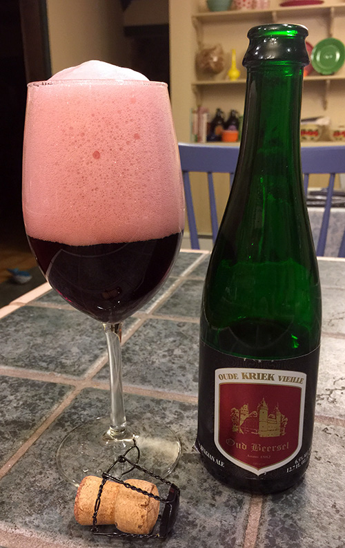 This bottle of Oud Beersel's Oude Kriek Vieille is an example of a beer that I may consider degassing.
